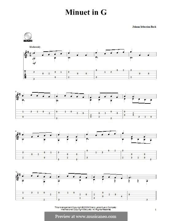 No.4 Minuet in G Major, BWV Anh.114: Para Guitarra by Johann Sebastian Bach