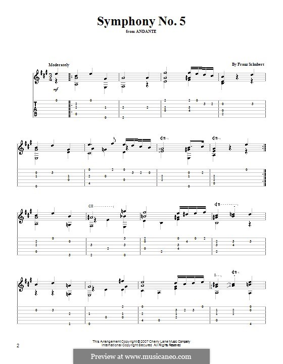Symphony No.5 in B Flat Major, D.485: Movement II (Theme). Version for guitar by Franz Schubert