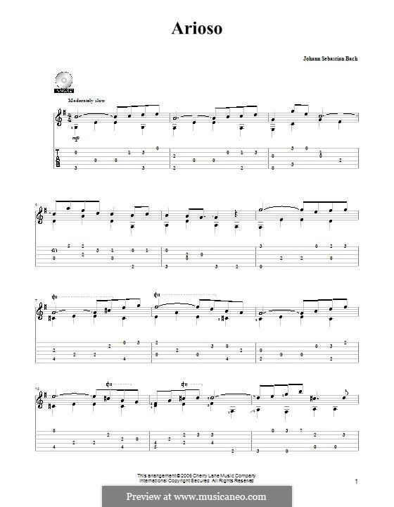 Arioso in G Major: para guitarra (com guia) by Johann Sebastian Bach