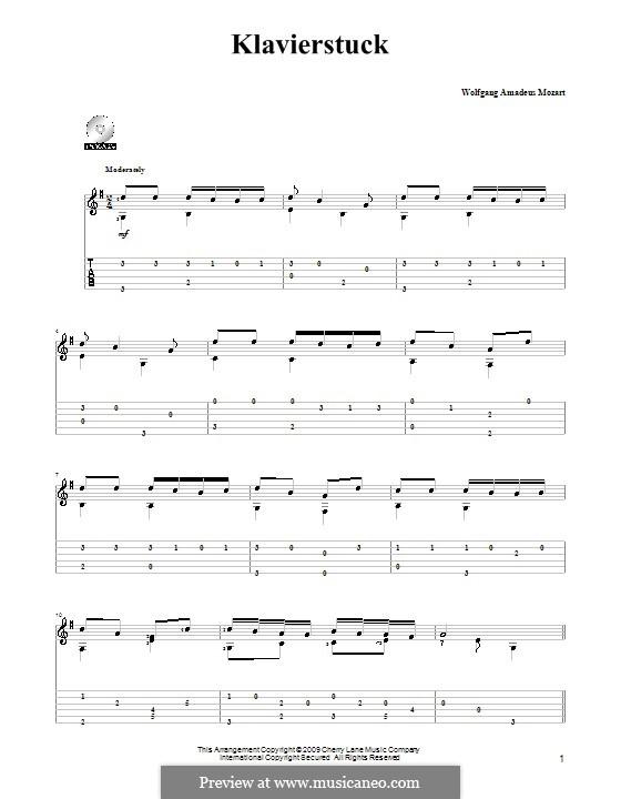 Piece for Piano in F Major, K.33b: arranjos para guitarra by Wolfgang Amadeus Mozart