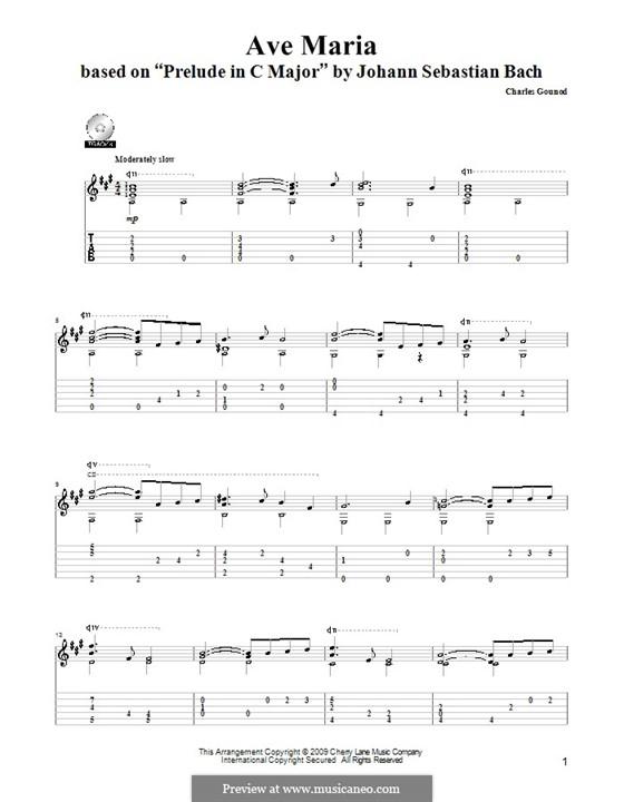 Ave Maria (Printable Sheet Music): Para Guitarra by Johann Sebastian Bach, Charles Gounod