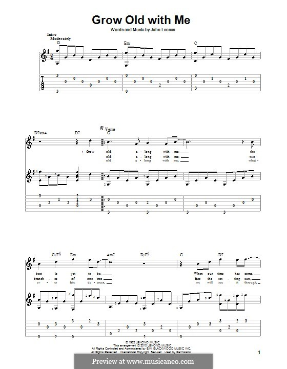 Grow Old With Me: Para guitarra com guia by John Lennon
