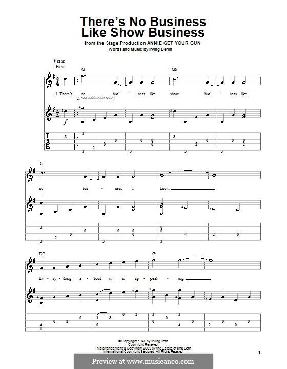 There's No Business Like Show Business (Ethel Merman): Para guitarra com guia by Irving Berlin