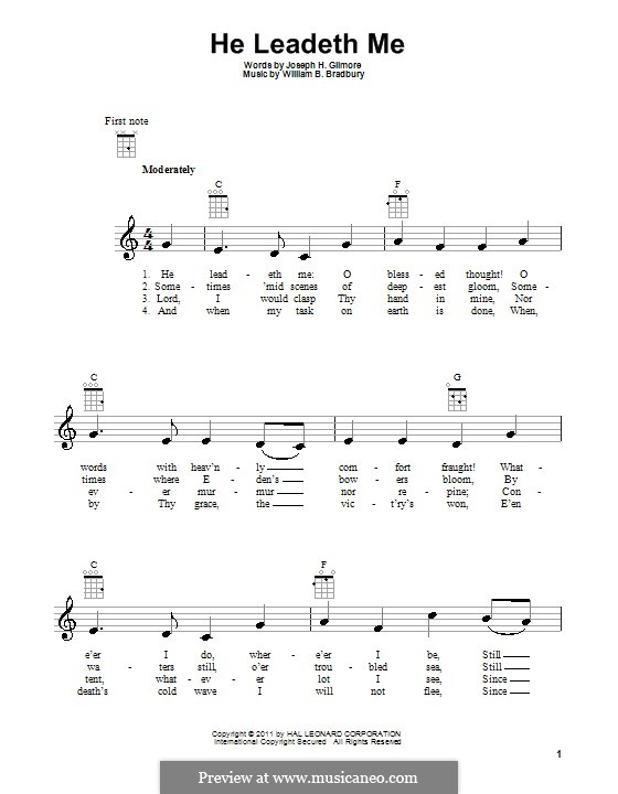 He Leadeth Me: para ukulele by William Batchelder Bradbury