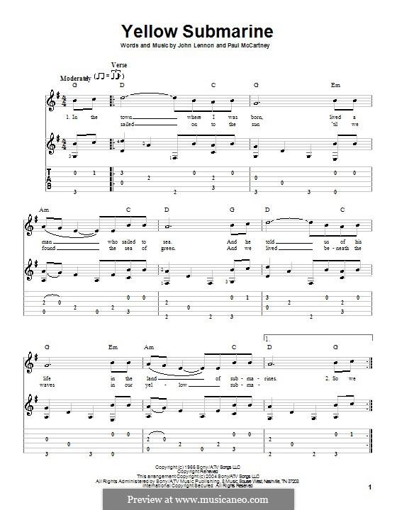 Yellow Submarine (The Beatles): para guitarra com guia e letras by John Lennon, Paul McCartney