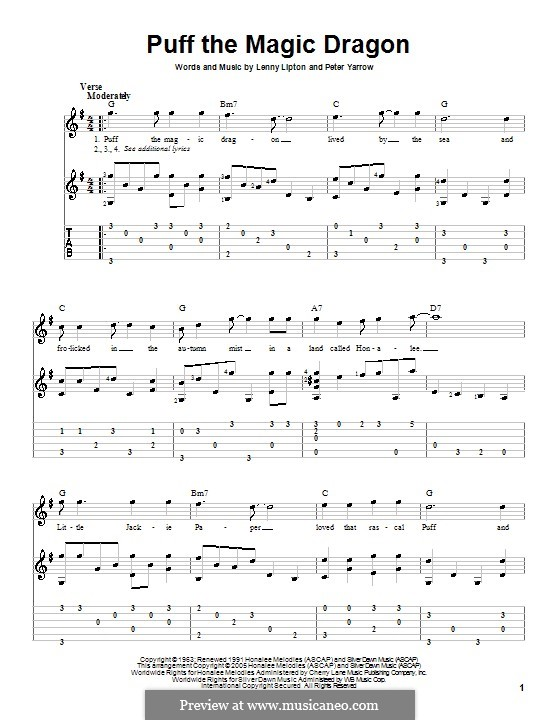 Puff the Magic Dragon (Peter, Paul & Mary): Para guitarra com guia by Lenny Lipton, Peter Yarrow