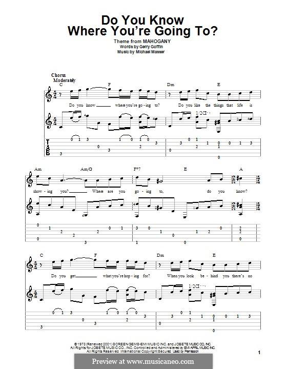 Do You Know Where You're Going To? (Diana Ross): Para guitarra com guia by Gerry Goffin, Michael Masser