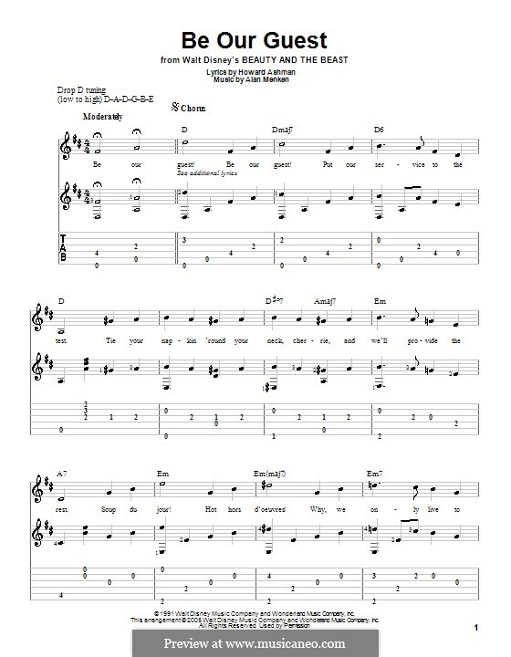 Be Our Guest (from Beauty and the Beast): Para guitarra com guia by Alan Menken