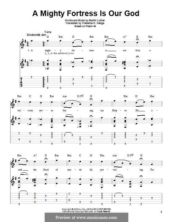 A Mighty Fortress Is Our God: Para Guitarra by Martin Luther