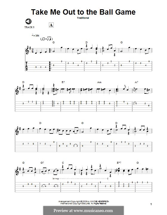 Take Me Out to the Ball Game: Para guitarra com guia by Albert von Tilzer