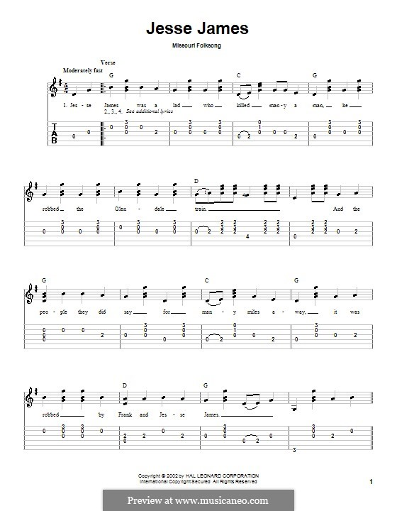 Jesse James: Para Guitarra by folklore