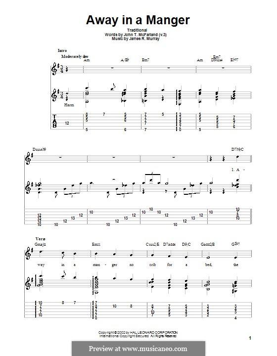 Away in a Manger (Printable Scores): Para guitarra com guia by James R. Murray