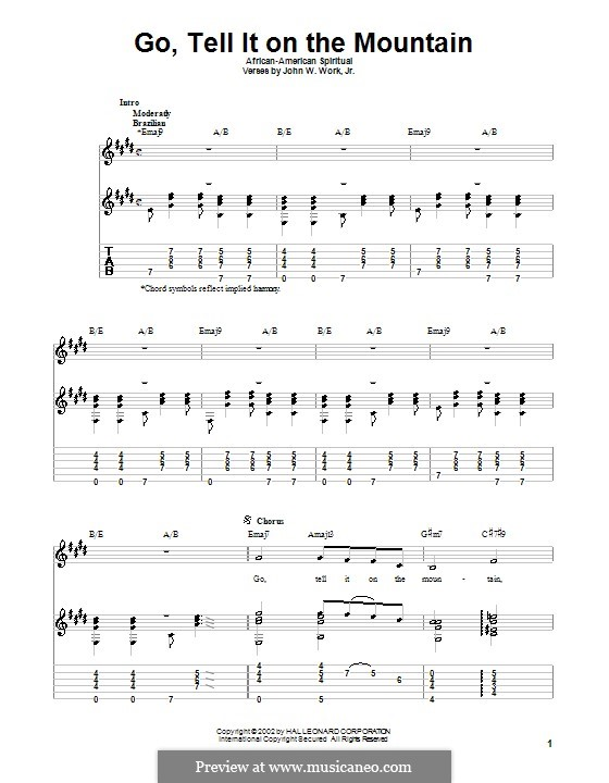 Go, Tell it on the Mountain (Printable Scores): Para Guitarra by folklore