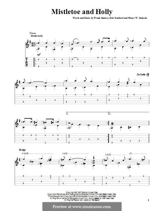 Mistletoe and Holly (Frank Sinatra): Para guitarra com guia by Dok Stanford, Henry W. Sanicola