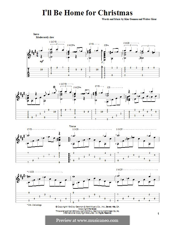 I'll Be Home for Christmas: For guitar (Bing Crosby) by Kim Gannon, Walter Kent