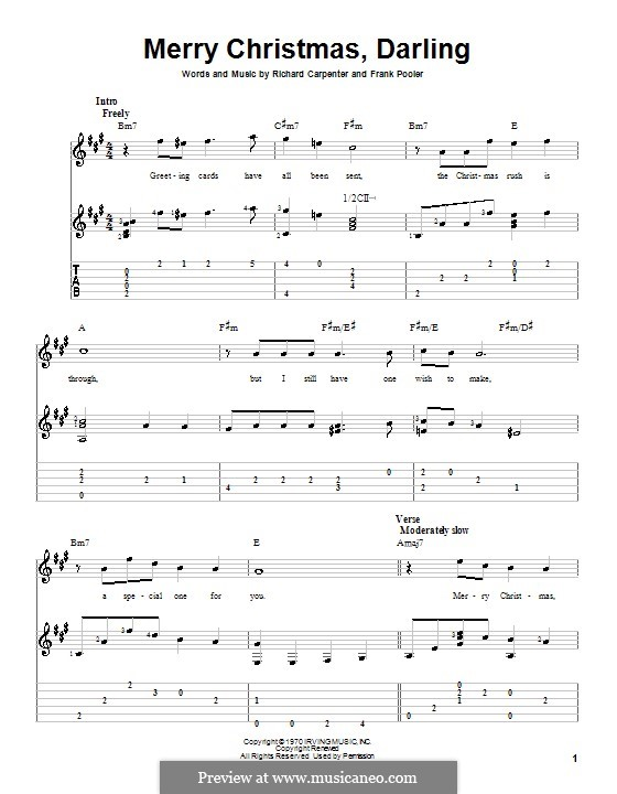 Merry Christmas, Darling (Carpenters): For guitar (A Major) by Frank Pooler, Richard Carpenter