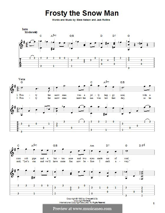 Frosty the Snow Man: For guitar with tablature (Gene Autry) by Jack Rollins, Steve Nelson
