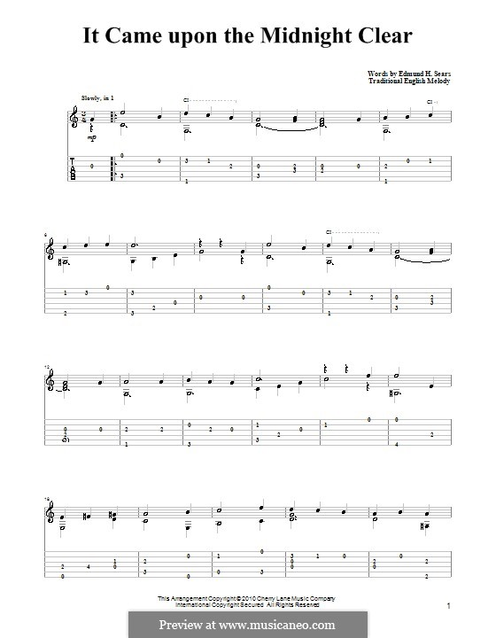 It Came upon the Midnight Clear: Para guitarra com guia by Richard Storrs Willis