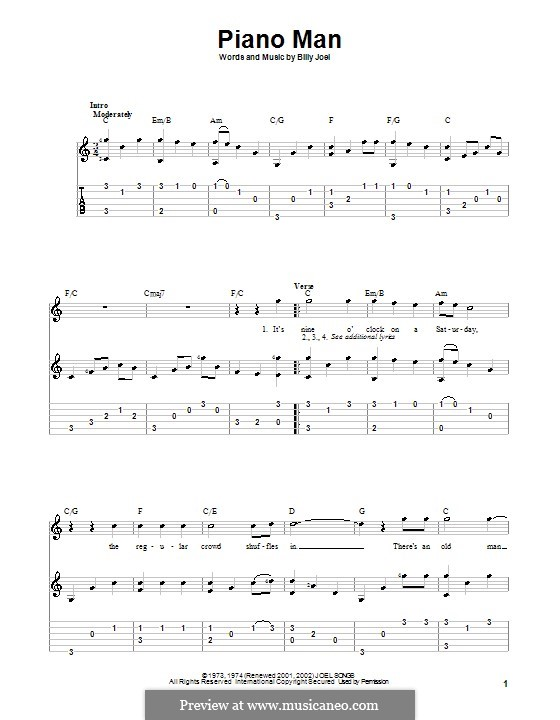 Piano Man: Para guitarra com guia by Billy Joel