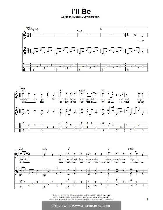 I'll Be: Para guitarra com guia by Edwin McCain