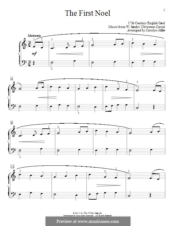 The First Nowell (The First Noël), for Piano: Version by Miller by folklore