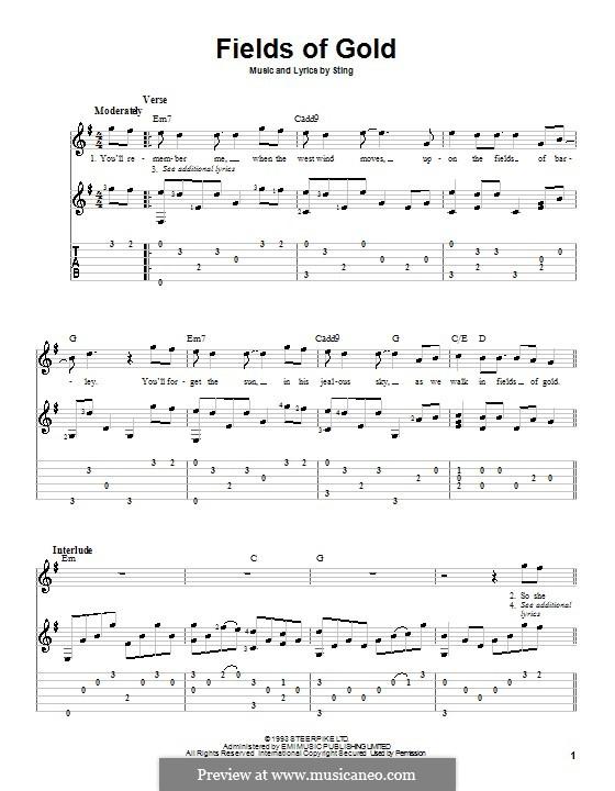Fields of Gold: para guitarra com guia e letras by Sting