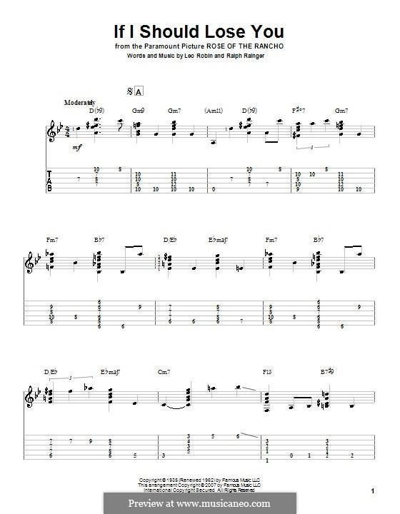 If I Should Lose You (Phineas Newborn): Para guitarra com guia by Leo Robin, Ralph Rainger