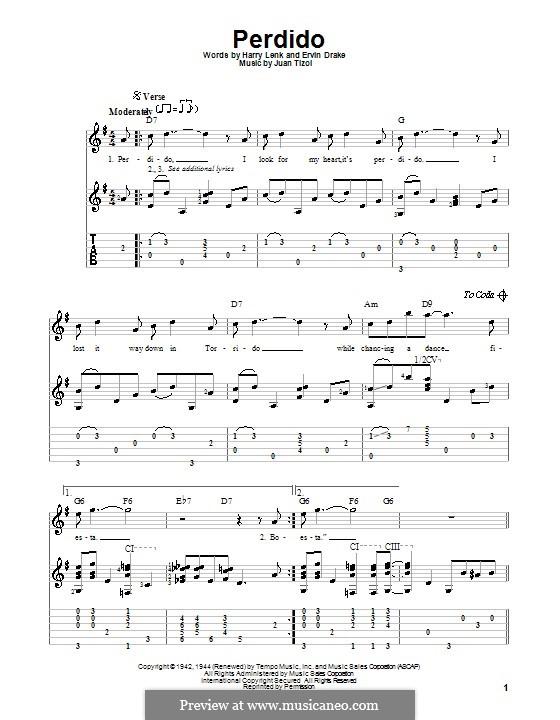 Perdido (Duke Ellington): Para guitarra com guia by Juan Tizol