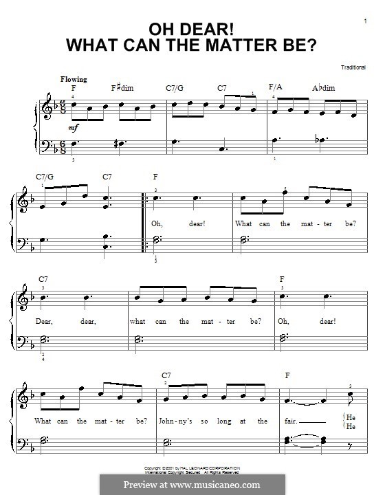 Oh Dear What Can the Matter Be?: Facil para o piano by folklore