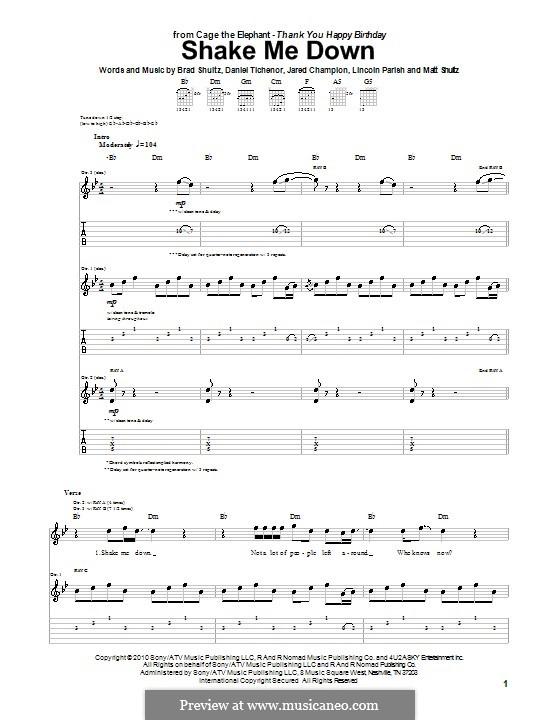 Shake Me Down (Cage the Elephant): Para guitarra com guia by Brad Shultz, Daniel Tichenor, Jared Champion, Lincoln Parish, Matt Shultz