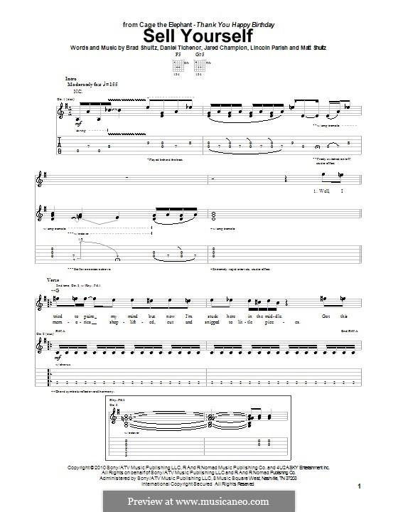 Sell Yourself (Cage the Elephant): Para guitarra com guia by Brad Shultz, Daniel Tichenor, Jared Champion, Lincoln Parish, Matt Shultz