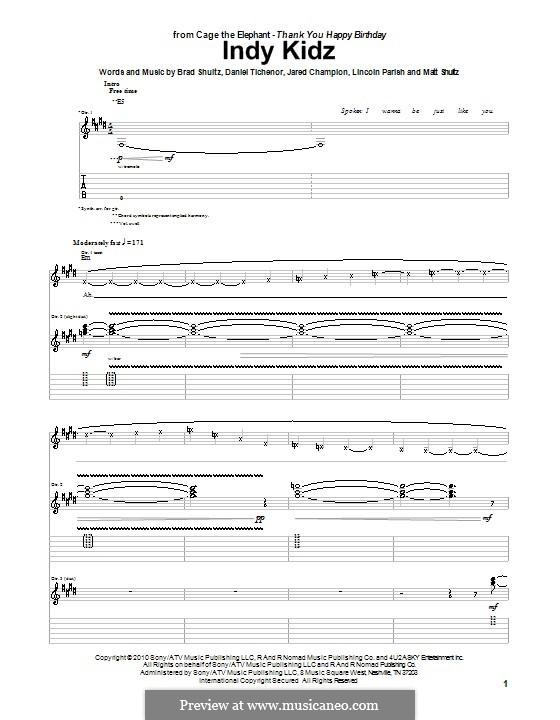Indy Kidz (Cage the Elephant): Para guitarra com guia by Brad Shultz, Daniel Tichenor, Jared Champion, Lincoln Parish, Matt Shultz