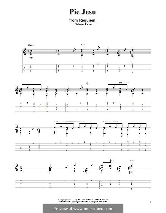 Requiem in D Minor, Op.48: Movement IV 'Pie Jesu', for guitar by Gabriel Fauré