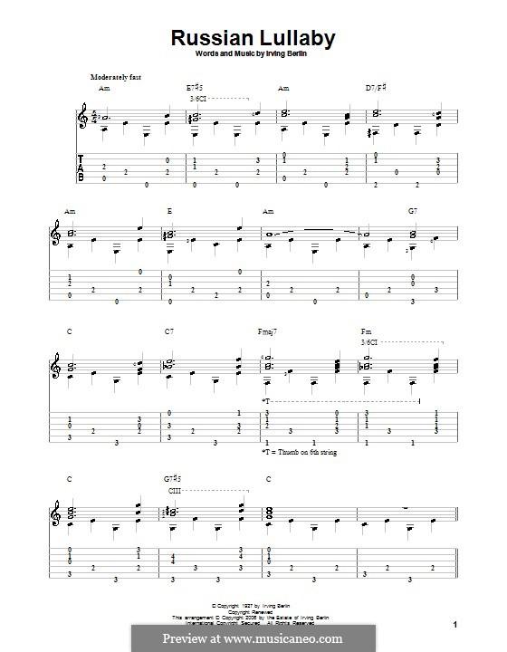 Russian Lullaby: Para guitarra com guia by Irving Berlin