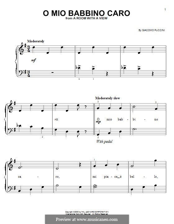 O mio babbino caro: Facil para o piano by Giacomo Puccini
