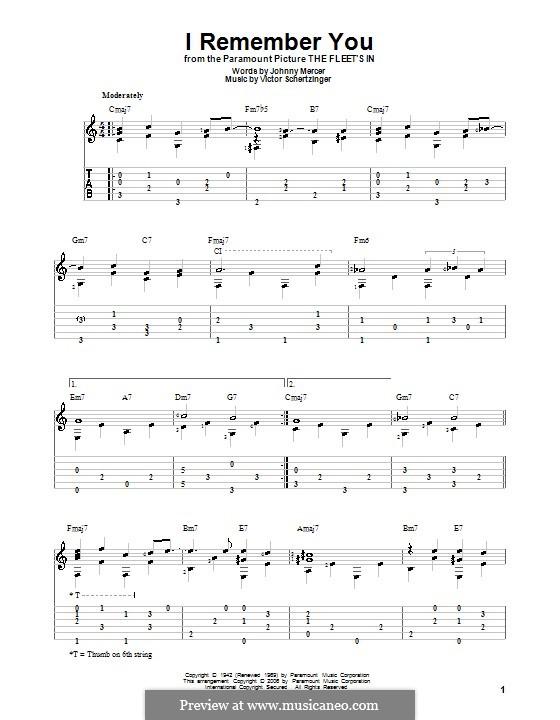 I Remember You (Diana Krall): Para guitarra com guia by Victor Schertzinger