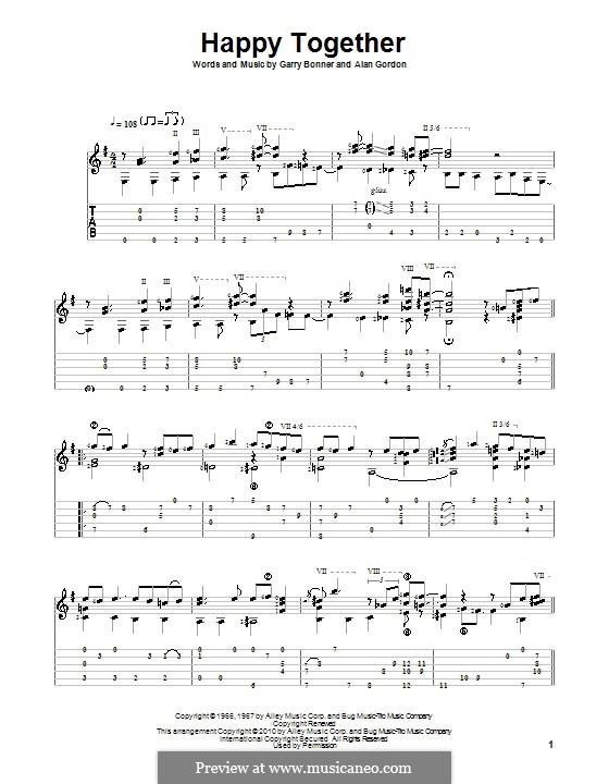 Happy Together (The Turtles): Para guitarra com guia by Alan Gordon, Garry Bonner