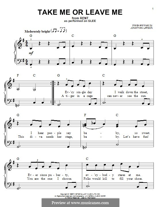 Take Me or Leave Me: Facil para o piano by Jonathan Larson