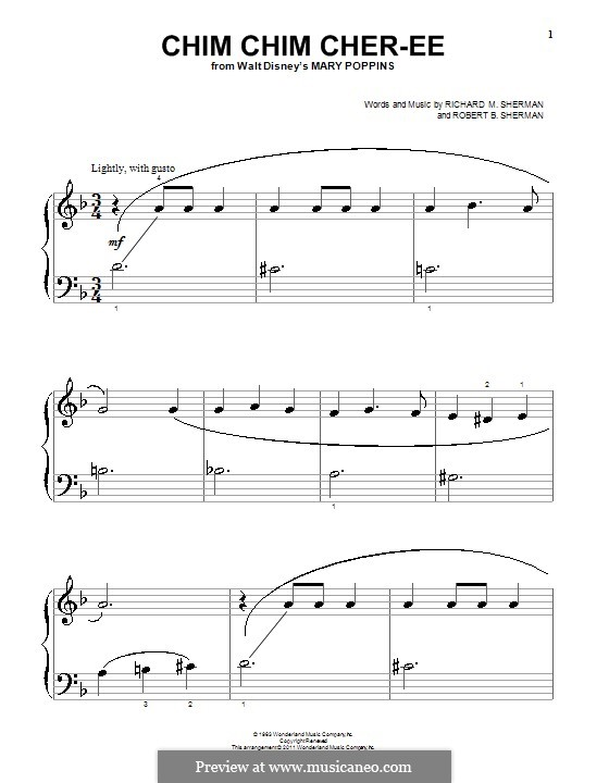 Chim Chim Cher-ee (from Mary Poppins), for Piano: For easy version (big hotes) by Richard M. Sherman, Robert B. Sherman