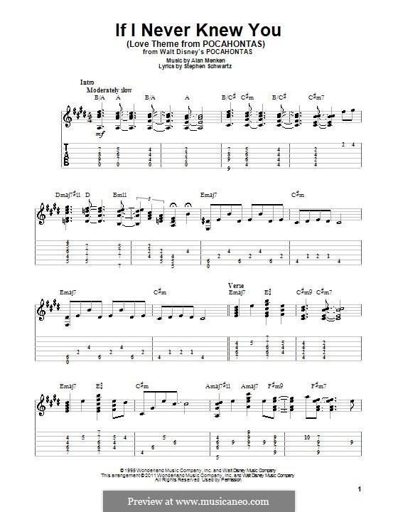 If I Never Knew You (Love Theme from Pocahontas): Para guitarra com guia by Alan Menken