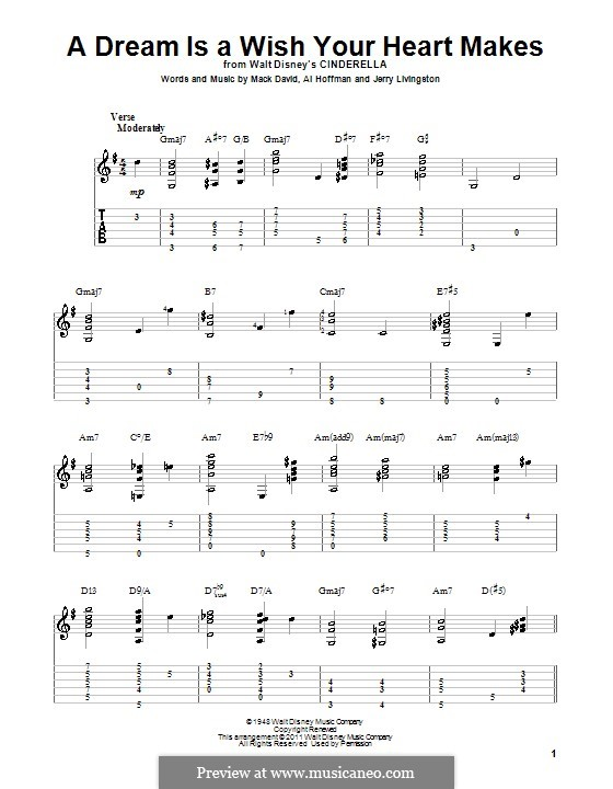 A Dream Is a Wish Your Heart Makes (from Disney's Cinderella): Para Guitarra by Al Hoffman, Jerry Livingston, Mack David