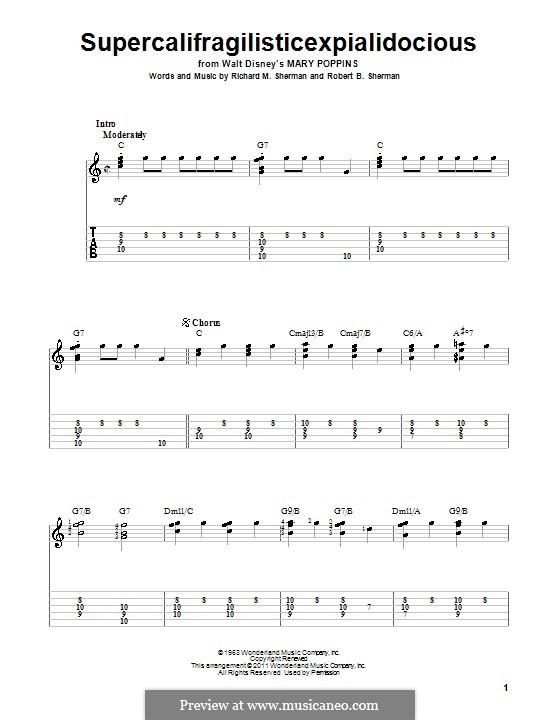 Supercalifragilisticexpialidocious (from Mary Poppins): Para Guitarra by Richard M. Sherman, Robert B. Sherman