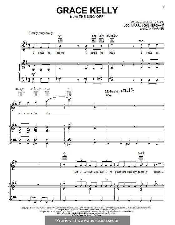 Grace Kelly: Para vocais e piano (ou Guitarra) by Mika, Dan Warner, Jodi Marr, John Merchant