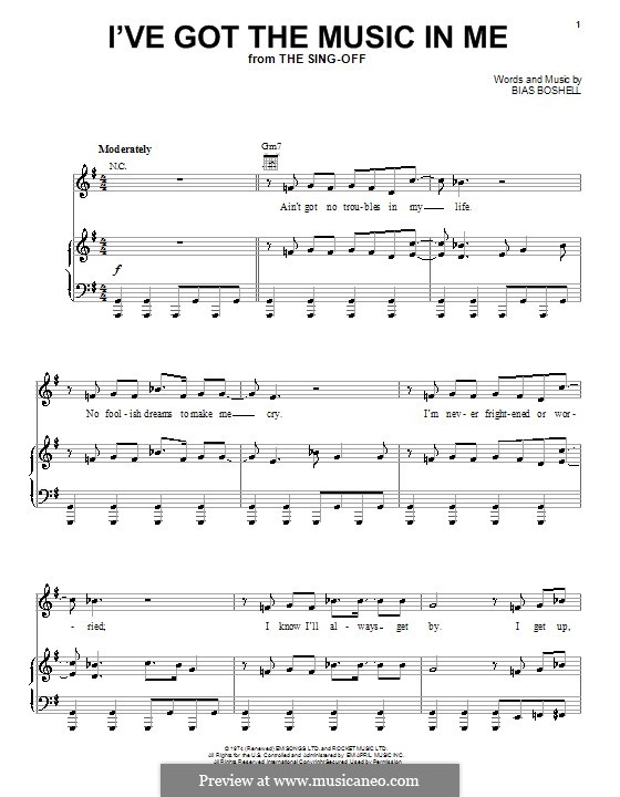 I've Got the Music in Me (Kiki Dee): para vocais,piano ou guitarra by Bias Boshell