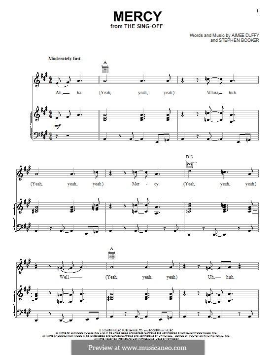 Mercy (Duffy): Para vocais e piano (ou Guitarra) by Aimee Duffy, Steve Booker