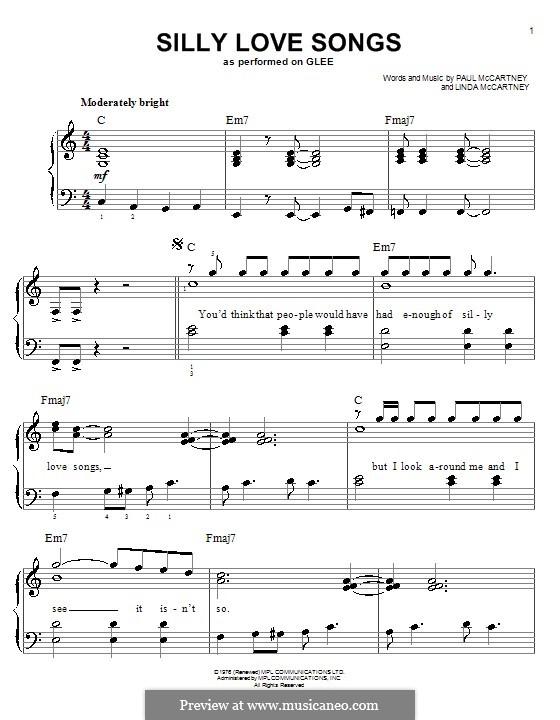 Silly Love Songs (Wings): Facil para o piano by Linda McCartney, Paul McCartney