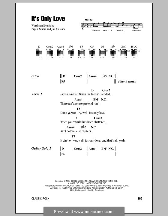 It's Only Love: Letras e Acordes by Bryan Adams, Jim Vallance