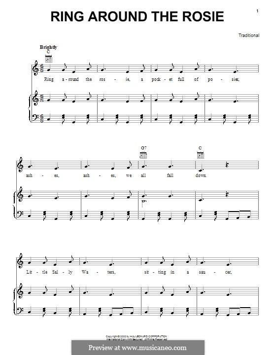 Ring Around the Rosie: Para vocais e piano (ou Guitarra) by folklore