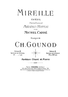 Mireille: Partitura Piano-vocal by Charles Gounod