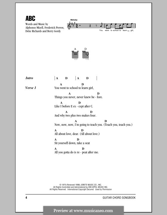 ABC (The Jackson 5): Letras e Acordes by Alphonso Mizell, Berry Gordy, Deke Richards, Freddie Perren